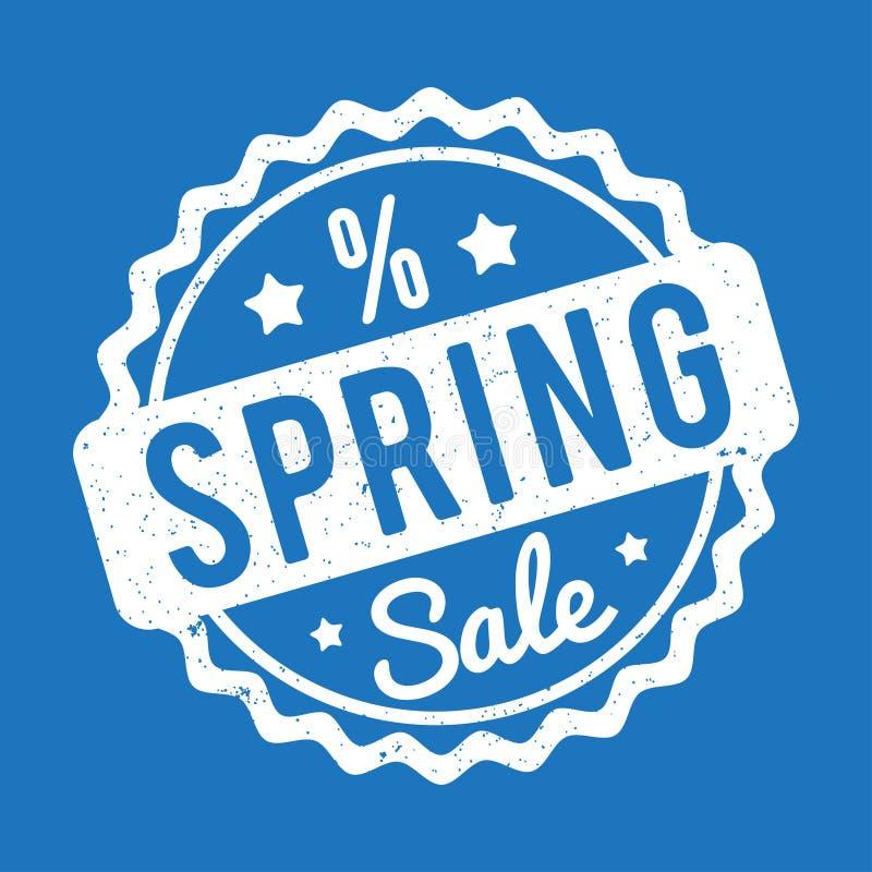 Blanco del sello de goma de la venta de la primavera en un fondo azul ilustración del vector
