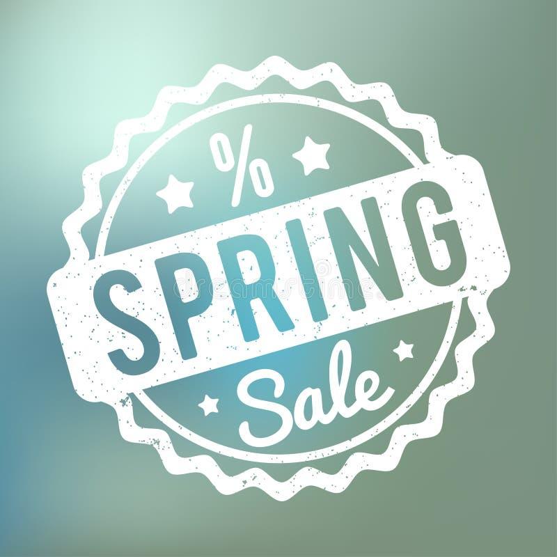Blanco del sello de goma de la venta de la primavera en un fondo azul del bokeh stock de ilustración