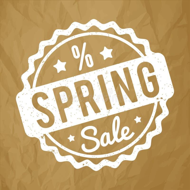 Blanco del sello de goma de la venta de la primavera en un fondo marrón de papel arrugado ilustración del vector