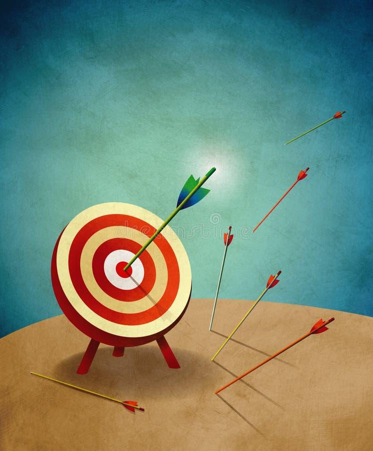 Blanco del tiro al arco con la ilustración de las flechas stock de ilustración