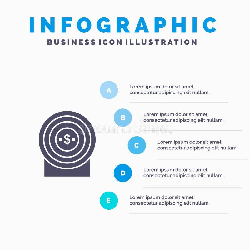 Blanco, dinero, logro, fondo sólido de la presentación de los pasos de Infographics 5 del icono de la blanco stock de ilustración