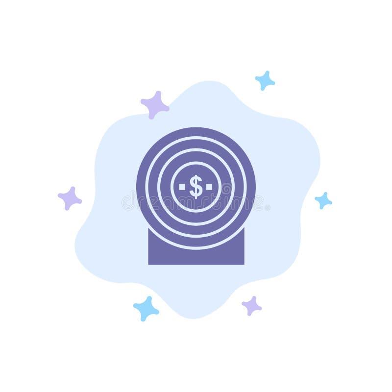 Blanco, dinero, logro, icono azul de la blanco en fondo abstracto de la nube ilustración del vector