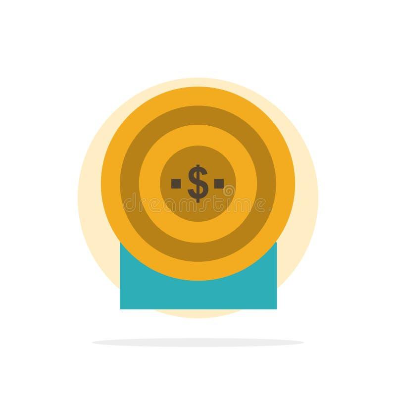 Blanco, dinero, logro, icono plano del color de fondo del círculo del extracto de la blanco stock de ilustración