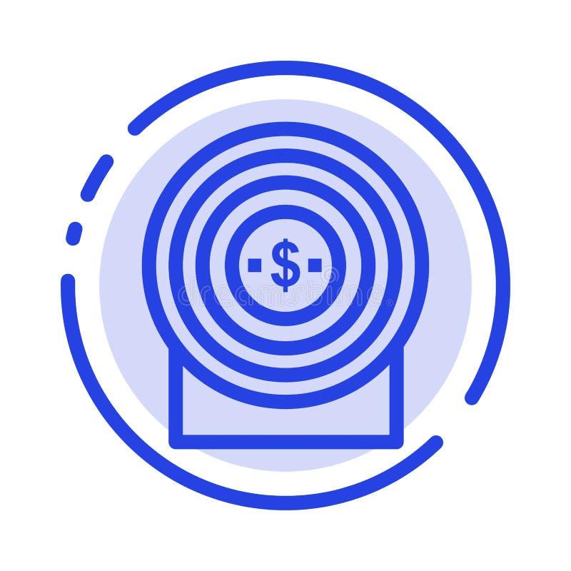 Blanco, dinero, logro, línea de puntos azul línea icono de la blanco libre illustration