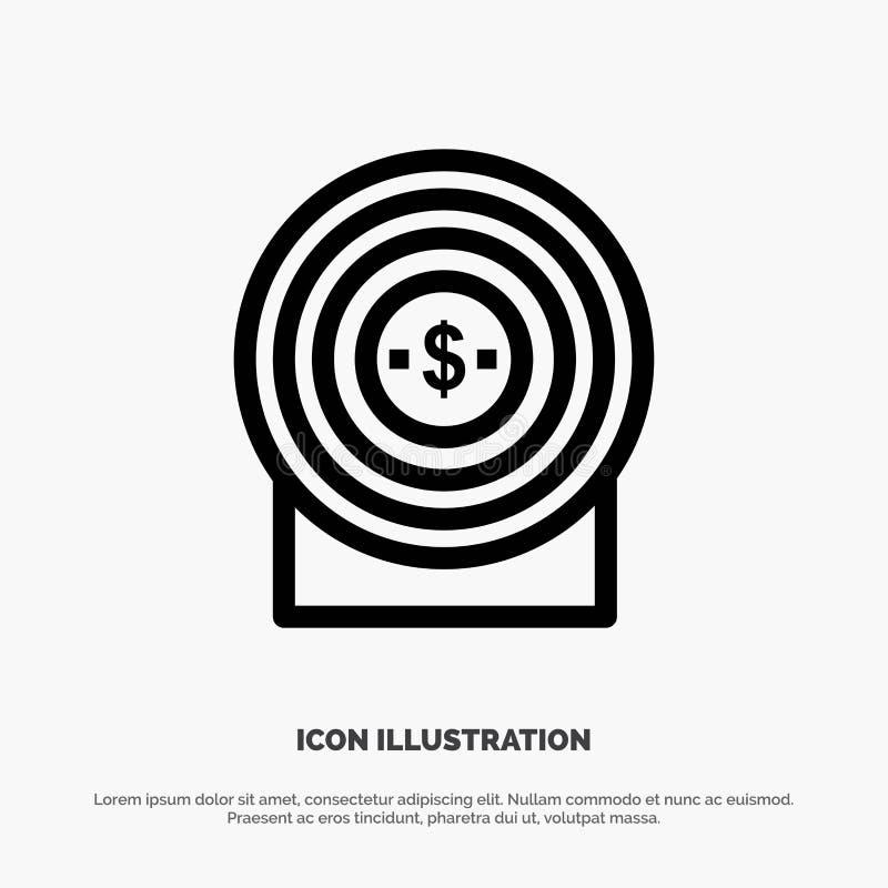 Blanco, dinero, logro, línea de blanco vector del icono libre illustration