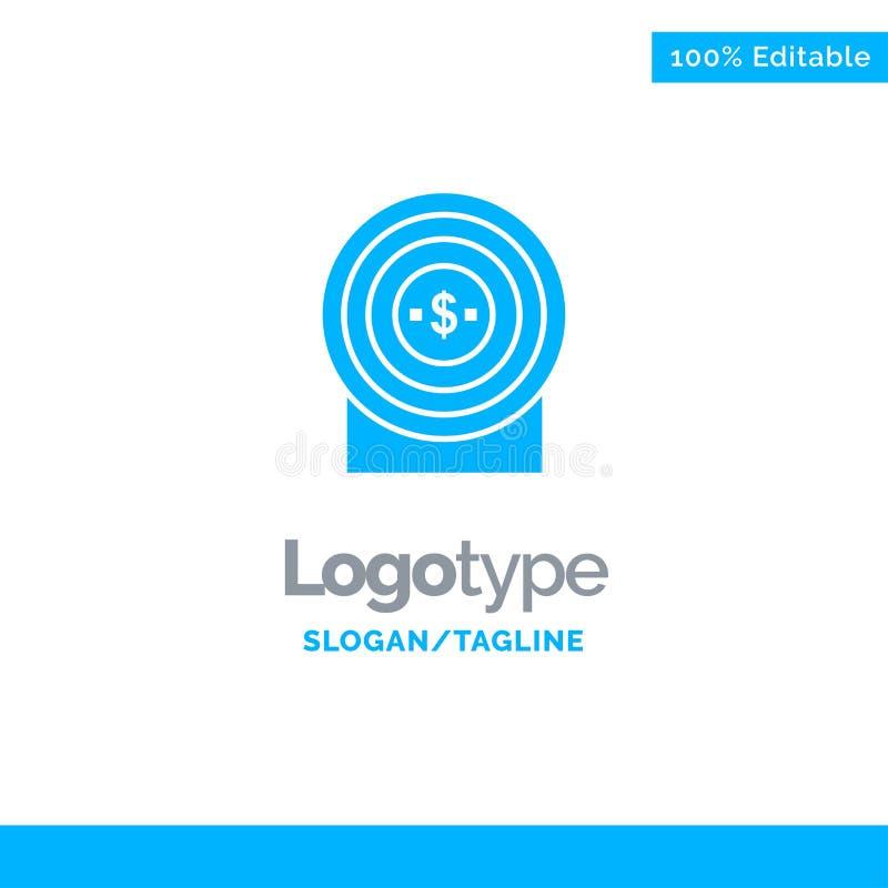 Blanco, dinero, logro, blanco Logo Template sólido azul Lugar para el Tagline stock de ilustración