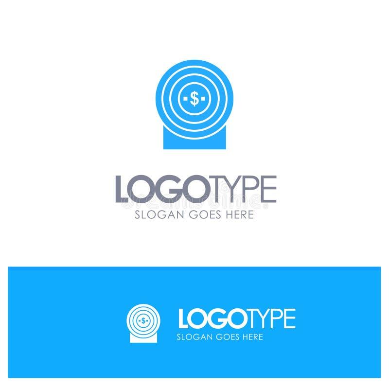 Blanco, dinero, logro, logotipo sólido azul de la blanco con el lugar para el tagline libre illustration