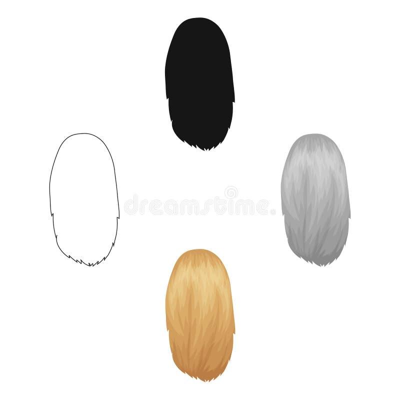 Blanco disuelto Solo icono del peinado trasero en la historieta, web negra del ejemplo de la acci?n del s?mbolo del vector del es stock de ilustración