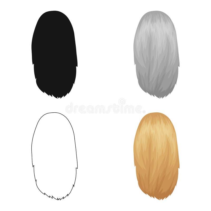 Blanco disuelto Solo icono del peinado trasero en web del ejemplo de la acción del símbolo del vector del estilo de la historieta stock de ilustración