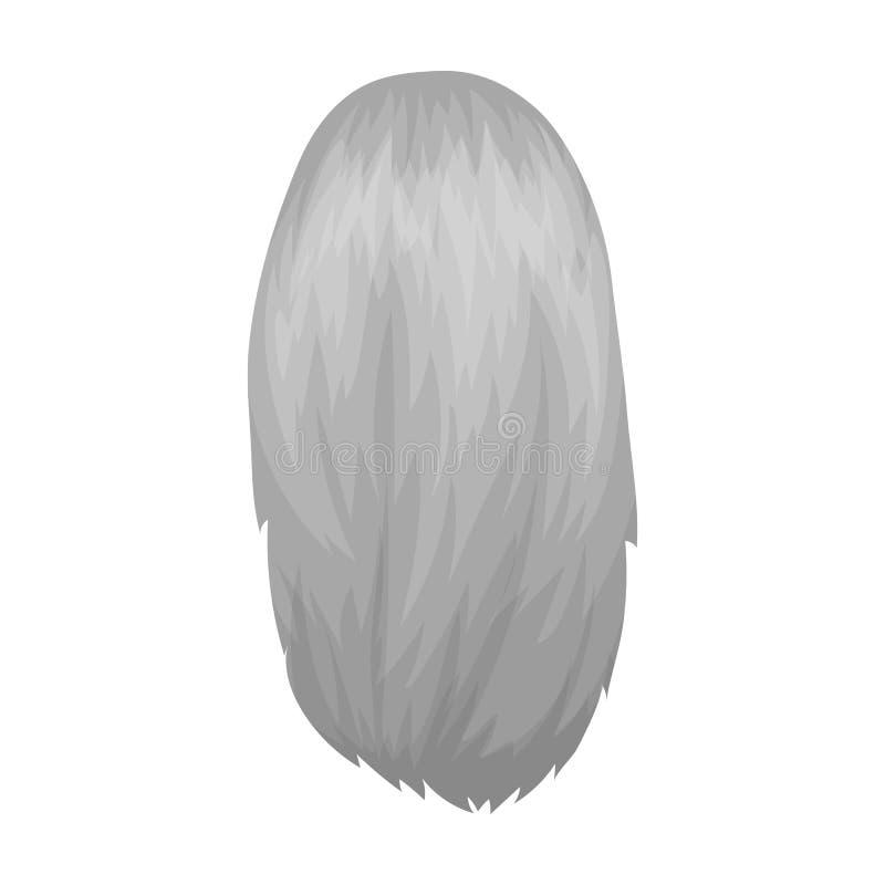Blanco disuelto Solo icono del peinado trasero en web monocromático del ejemplo de la acción del símbolo del vector del estilo stock de ilustración