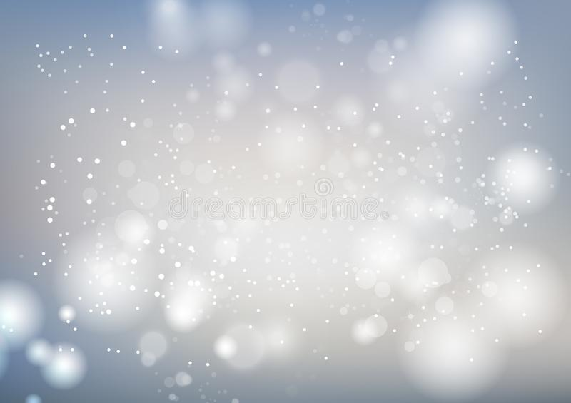 Blanco, el fondo del extracto de la celebración, las estrellas de plata chispea ejemplo de lujo del vector del movimiento de la f ilustración del vector