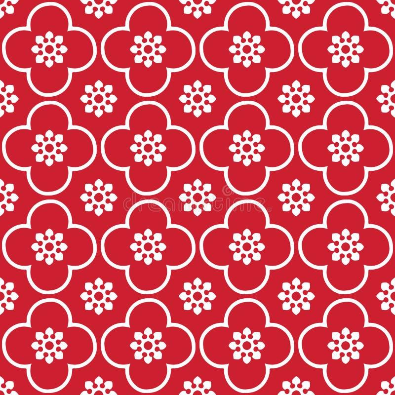 Blanco en fondo inconsútil rojo del modelo de la repetición del club y del círculo stock de ilustración