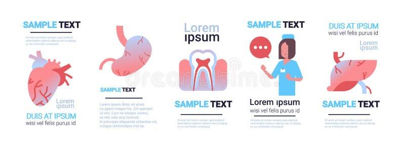 Blanco femenino fijado del concepto de la atención sanitaria de la consulta del doctor de diversa colección infographic humana de ilustración del vector