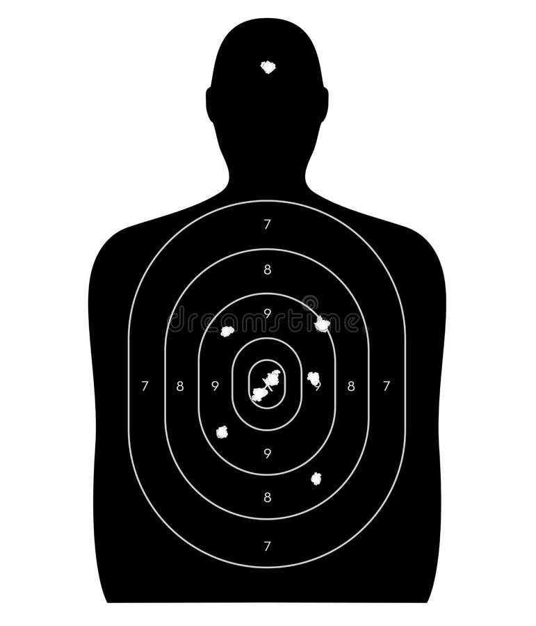 Blanco humana con los agujeros de bala ilustración del vector