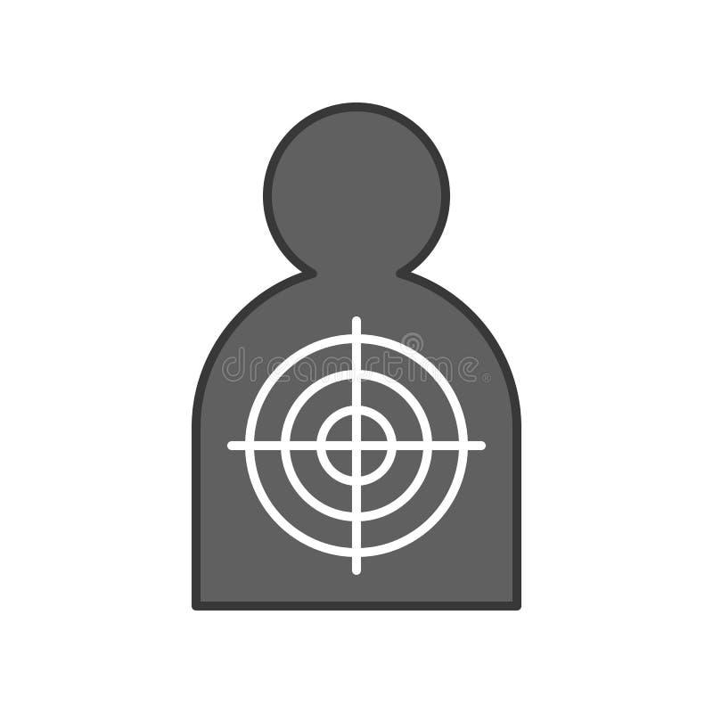 Blanco humana del tiroteo de la forma, movimiento editable del icono relacionado de la policía ilustración del vector