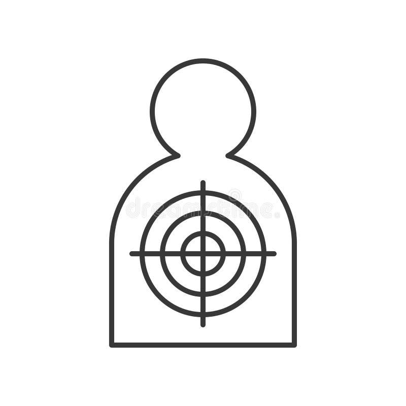 Blanco humana del tiroteo de la forma, movimiento editable del icono relacionado de la policía stock de ilustración