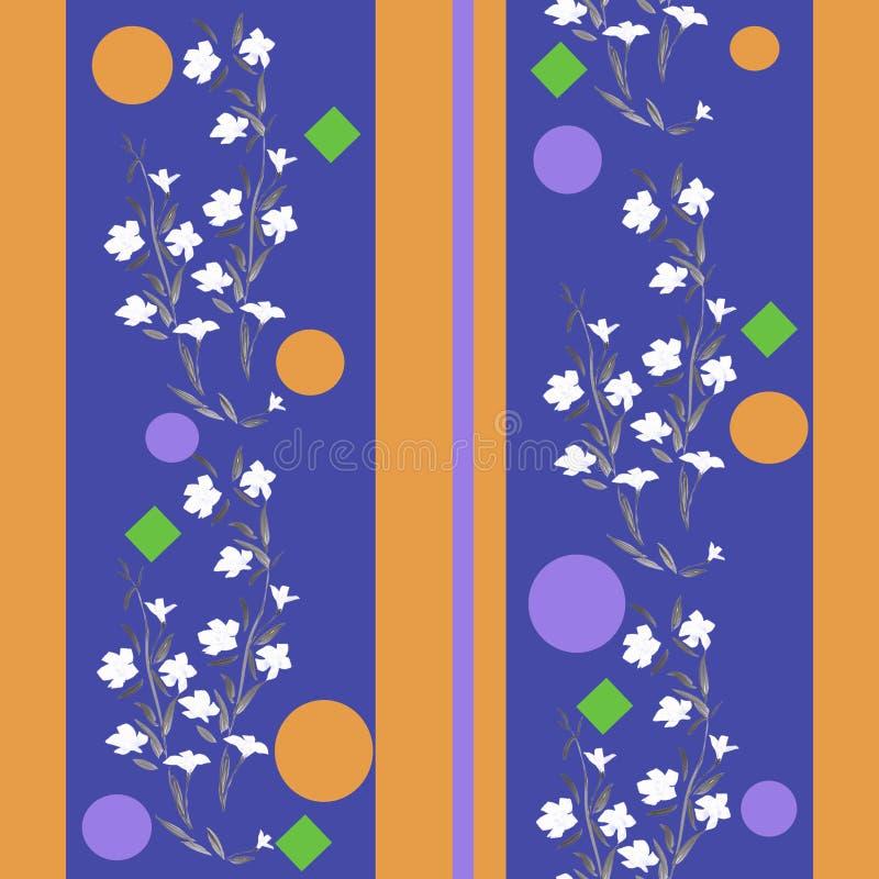 Blanco inconsútil del modelo de la acuarela y amarillo azul de las flores ilustración del vector