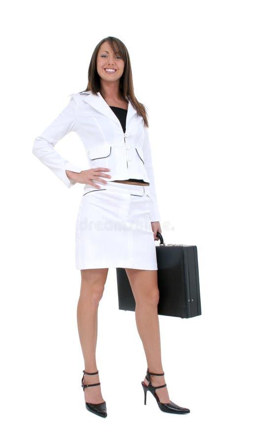Blanco joven hermoso de la mujer de negocios en blanco foto de archivo