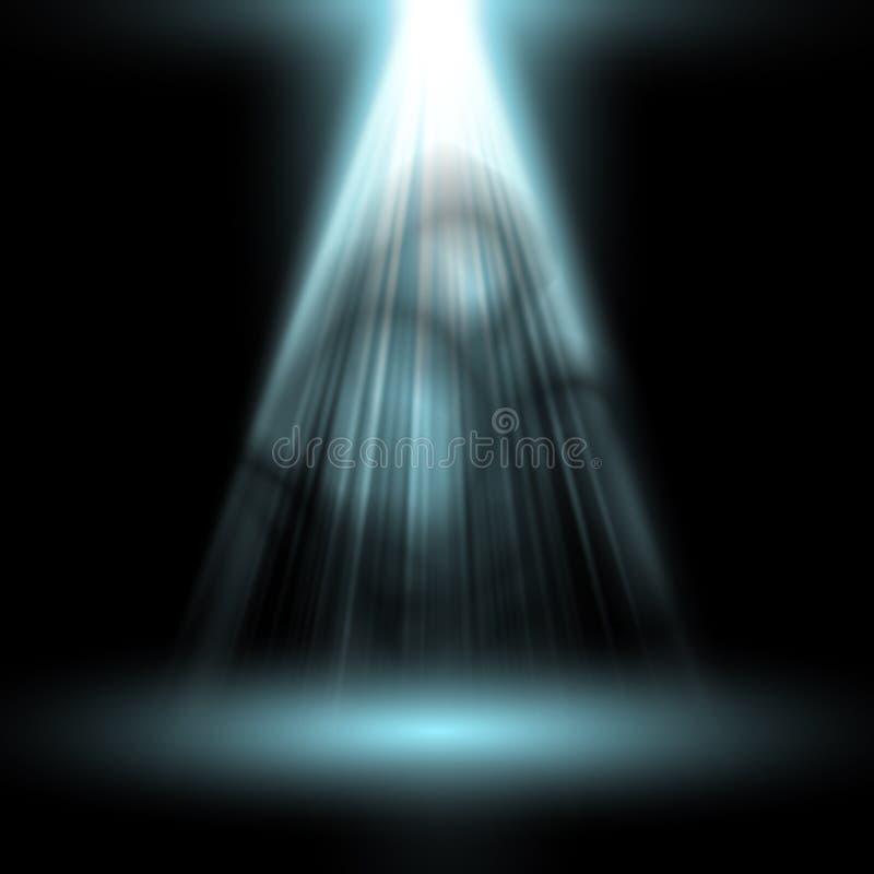 Blanco ligero del proyector Plantilla para el efecto luminoso sobre fondo negro Ilustración del vector ilustración del vector