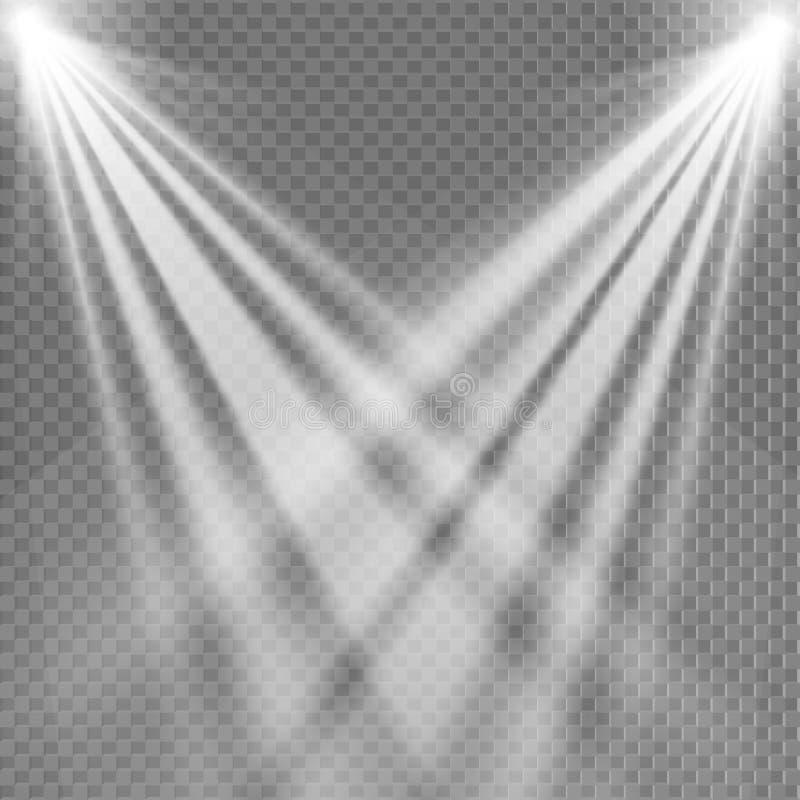 Blanco ligero del proyector Plantilla para el efecto luminoso sobre un fondo transparente Ilustración del vector ilustración del vector