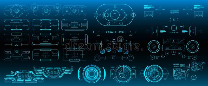 Blanco mega del sistema del paquete HUD Futuristic User Interface Interfaz de usuario gr?fica virtual futurista del tacto libre illustration