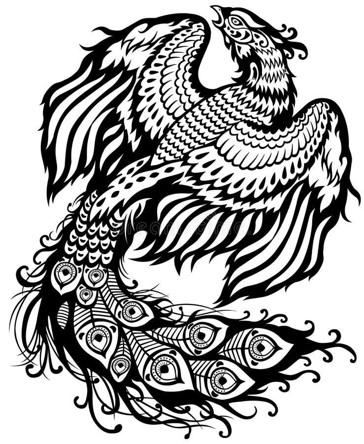 Blanco negro de Phoenix stock de ilustración