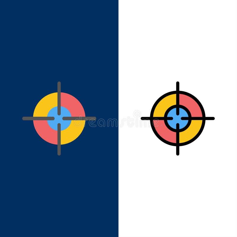 Blanco, objetivo, iconos del interfaz El plano y la línea icono llenado fijaron el fondo azul del vector stock de ilustración
