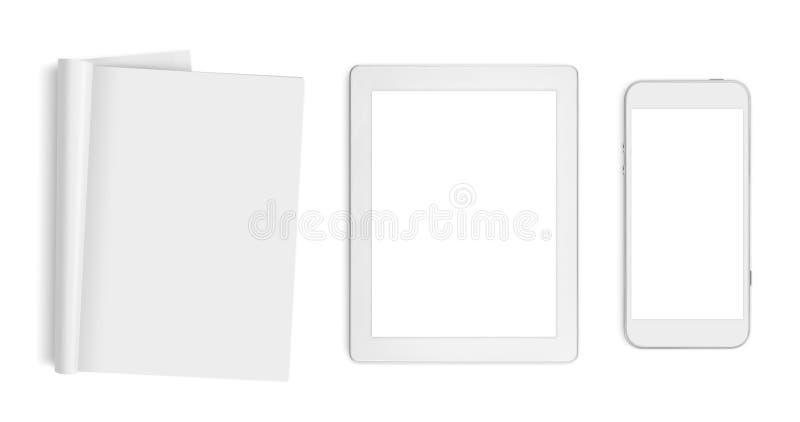 Blanco pagina's, tabletcomputer en mobiele die telefoon op wit worden geïsoleerd royalty-vrije stock afbeelding