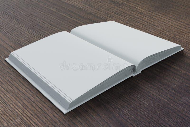 Blanco pagina's van agenda op donkere bruine houten lijst stock illustratie