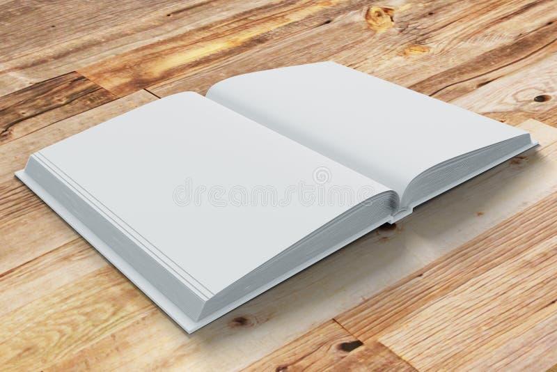 Blanco pagina's van geopende agenda op houten lijst royalty-vrije illustratie