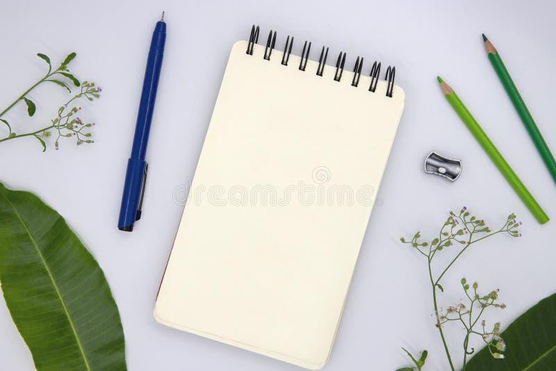 Blanco pagina van het schetsen van stootkussen met potlood en bladeren op witte, hoogste meningsfoto De lente of de zomer seizoen stock foto's