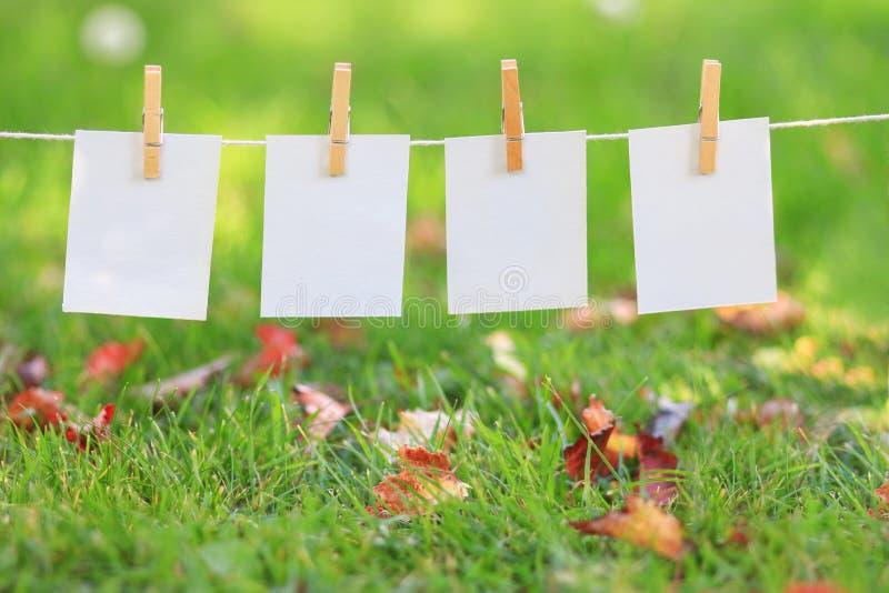 Blanco papieren tekens hangen in rij royalty-vrije stock fotografie