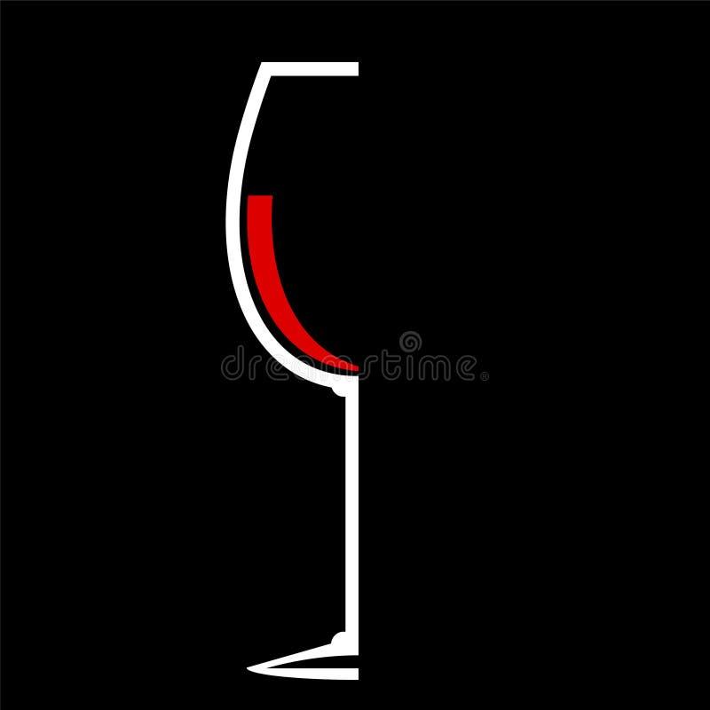 Blanco plano del diseño del icono de la copa de vino en el negro, illustr común del vector libre illustration