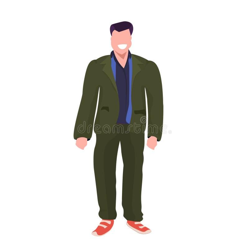 Blanco plano integral sonriente del individuo del hombre de la actitud obesa gorda de la situación de la obesidad del personaje d libre illustration