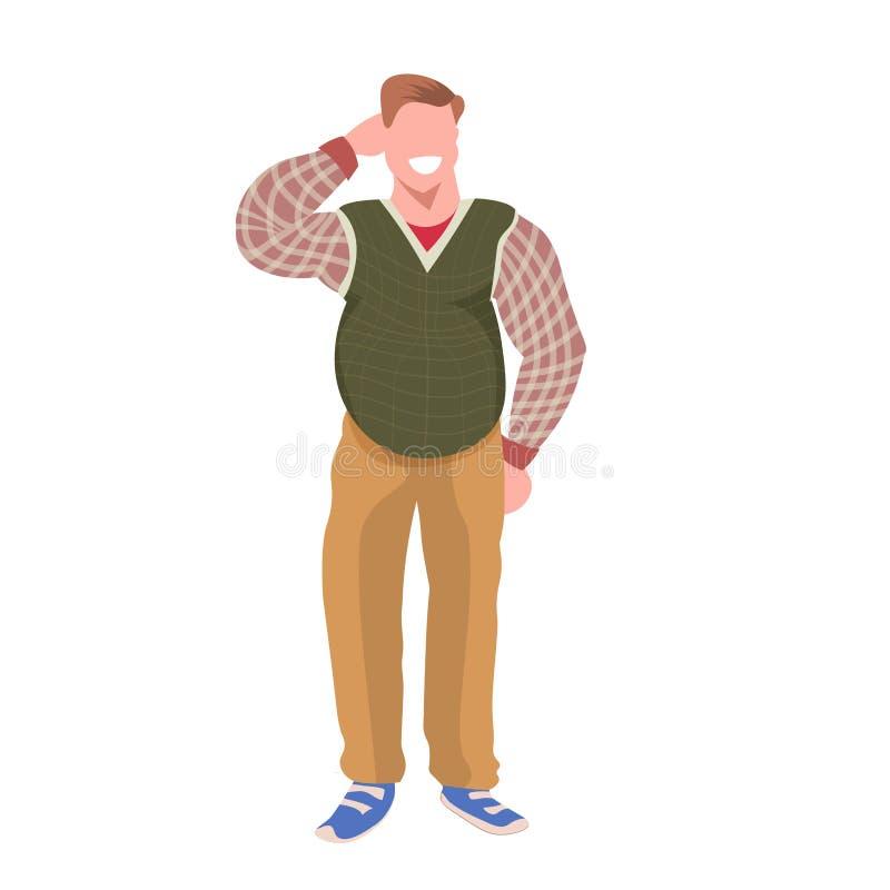 Blanco plano integral sonriente del individuo del hombre de la actitud obesa gorda de la situación de la obesidad del personaje d stock de ilustración