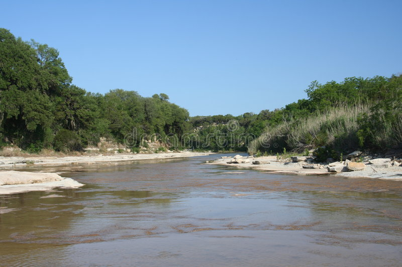 Blanco River. Flowing thru the Central Hill Country of Texas. Blanco is 45 minutes north of San Antonio and was settled in 1853 by early pioneers stock photos