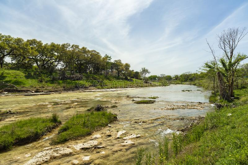 Blanco River Texas. The Blanco River and the natural beauty of the Texas Hill Country in the small town of Wimberley stock photography
