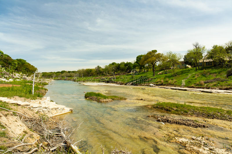 Blanco River Texas. The Blanco River and the natural beauty of the Texas Hill Country in the small town of Wimberley royalty free stock photography