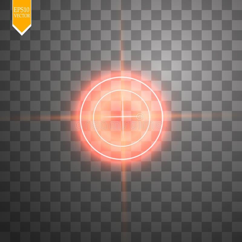 Blanco roja de neón aislada Elemento del interfaz del juego Ilustración del vector libre illustration
