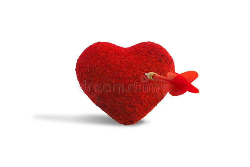 Blanco roja del golpe del dardo en forma del corazón aislada en el fondo blanco fotos de archivo libres de regalías