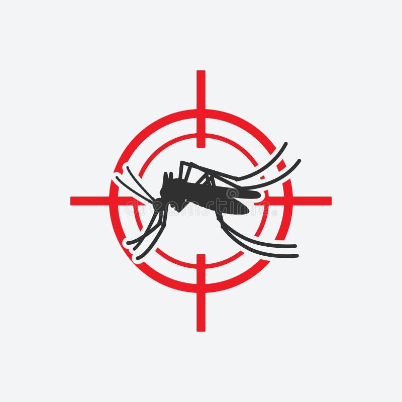 Blanco roja del icono del mosquito Muestra del control de parásito de insecto stock de ilustración