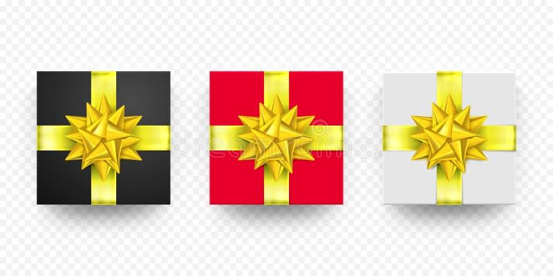 Blanco rojo del presente de la caja de regalo de la Navidad, sistema de oro negro del vector de la cinta libre illustration