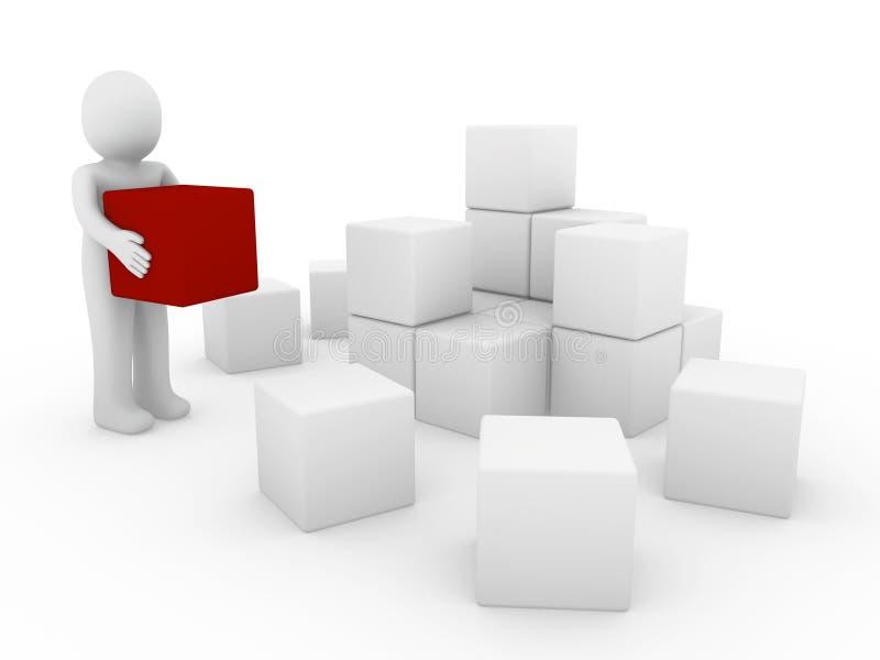 blanco rojo del rectángulo humano del cubo 3d stock de ilustración