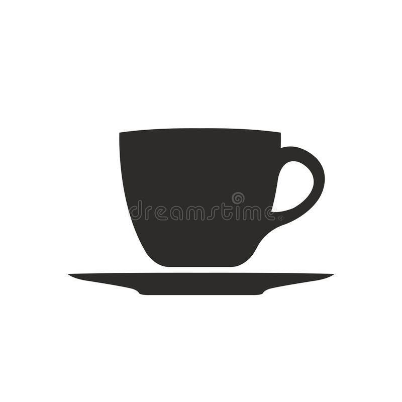 Blanco simple del icono del símbolo de la taza de café aislado ilustración del vector
