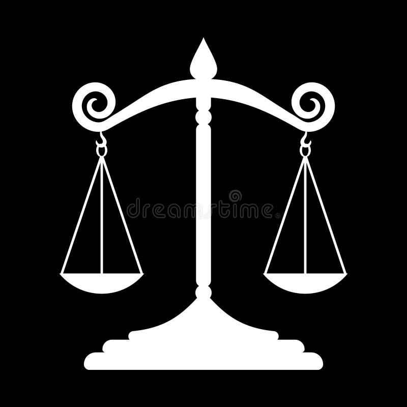 Blanco simple, plano, blanco y negro de la silueta de la escala de la justicia ilustración del vector