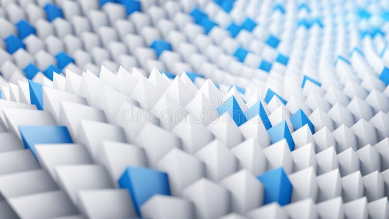 Blanco y azul enarbola la superficie ondulada 3d rinden libre illustration