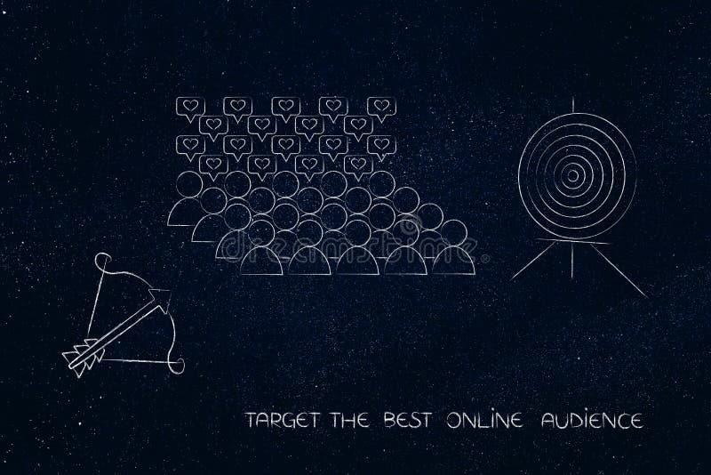 Blanco y flecha con el grupo de seguidores mientras tanto ilustración del vector