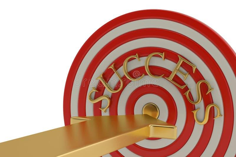 Blanco y flecha del éxito del concepto del negocio ilustración 3D ilustración del vector
