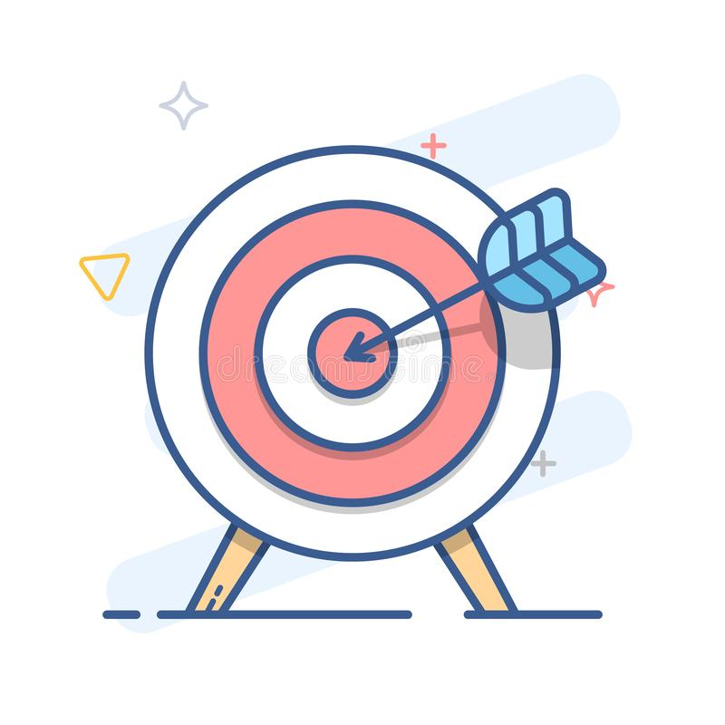 Blanco y flecha Icono de la meta Línea ejemplo del vector del color stock de ilustración