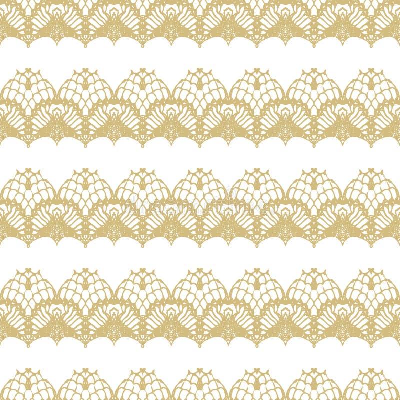 Blanco y modelo inconsútil de las rayas del cordón del oro libre illustration